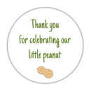 "Little peanut baby shower stickers - 1.5"" circle = 30 labels per sheet / Olive - Dazzling Daisies"