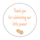 "Little peanut baby shower stickers - 1.5"" circle = 30 labels per sheet / Peach - Dazzling Daisies"