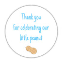 "Little peanut baby shower stickers - 1.5"" circle = 30 labels per sheet / Sky blue - Dazzling Daisies"