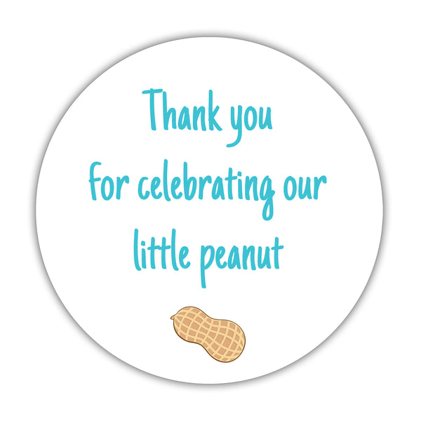 "Little peanut baby shower stickers - 1.5"" circle = 30 labels per sheet / Turquoise - Dazzling Daisies"