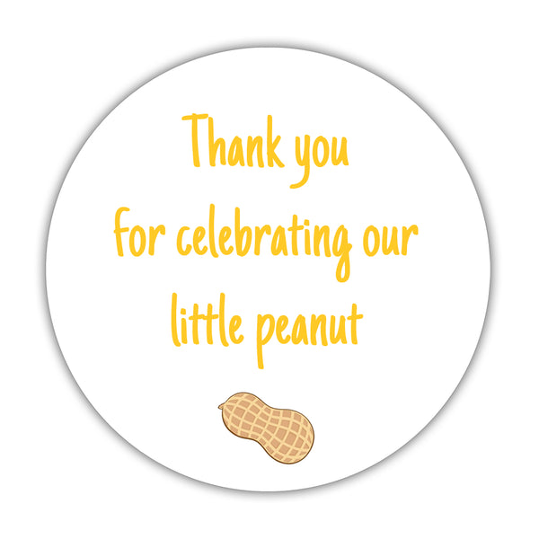 "Little peanut baby shower stickers - 1.5"" circle = 30 labels per sheet / Yellow - Dazzling Daisies"
