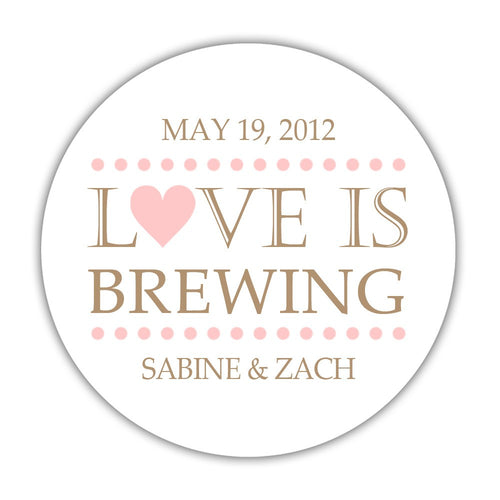 "Love is brewing stickers dots - 1.5"" circle = 30 labels per sheet / Blush - Dazzling Daisies"