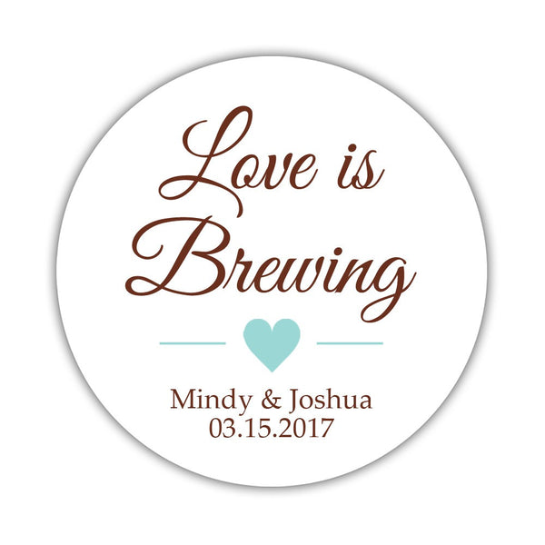 "Love is brewing stickers - 1.5"" circle = 30 labels per sheet / Chocolate/Aquamarine - Dazzling Daisies"