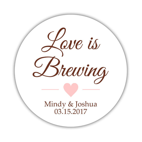 "Love is brewing stickers - 1.5"" circle = 30 labels per sheet / Chocolate/Blush - Dazzling Daisies"
