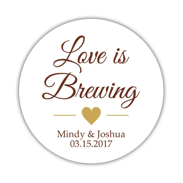 "Love is brewing stickers - 1.5"" circle = 30 labels per sheet / Chocolate/Gold - Dazzling Daisies"