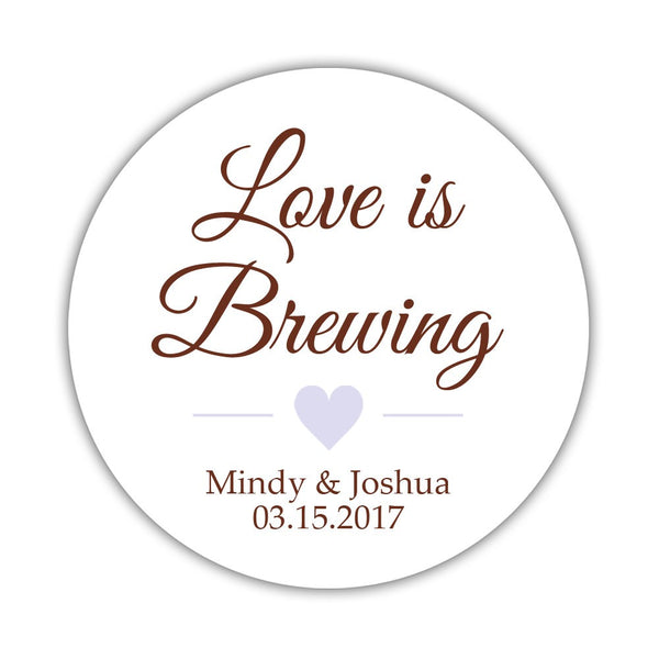 "Love is brewing stickers - 1.5"" circle = 30 labels per sheet / Chocolate/Lavender - Dazzling Daisies"