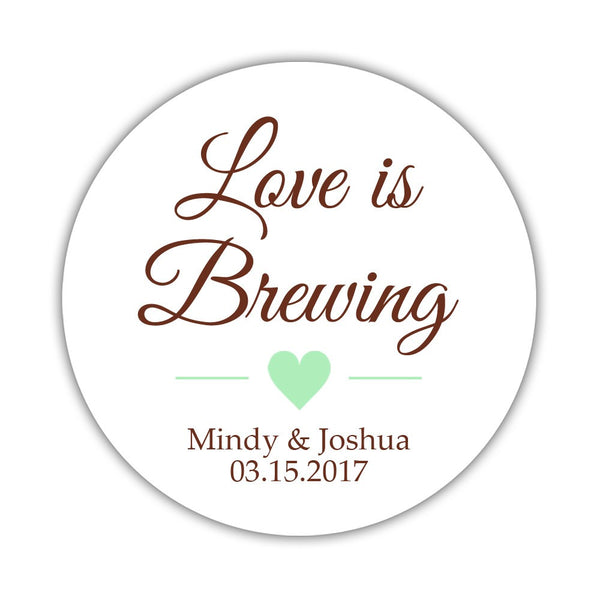 "Love is brewing stickers - 1.5"" circle = 30 labels per sheet / Chocolate/Mint - Dazzling Daisies"