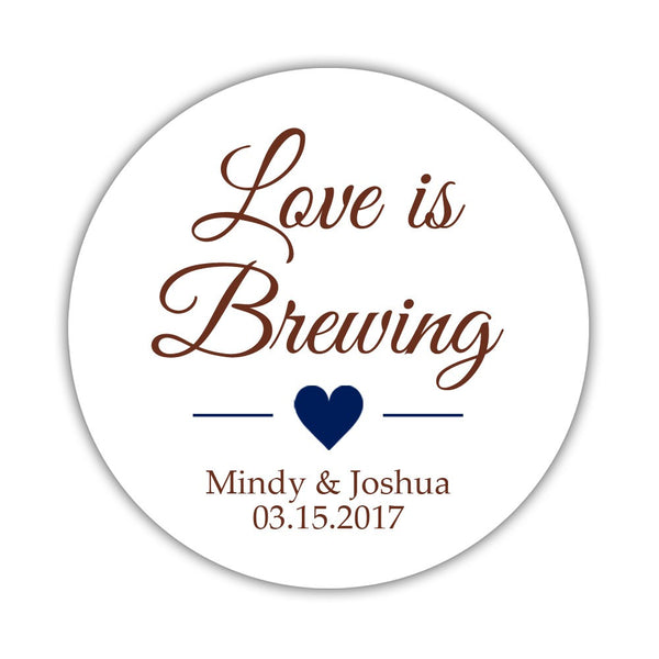 "Love is brewing stickers - 1.5"" circle = 30 labels per sheet / Chocolate/Navy - Dazzling Daisies"