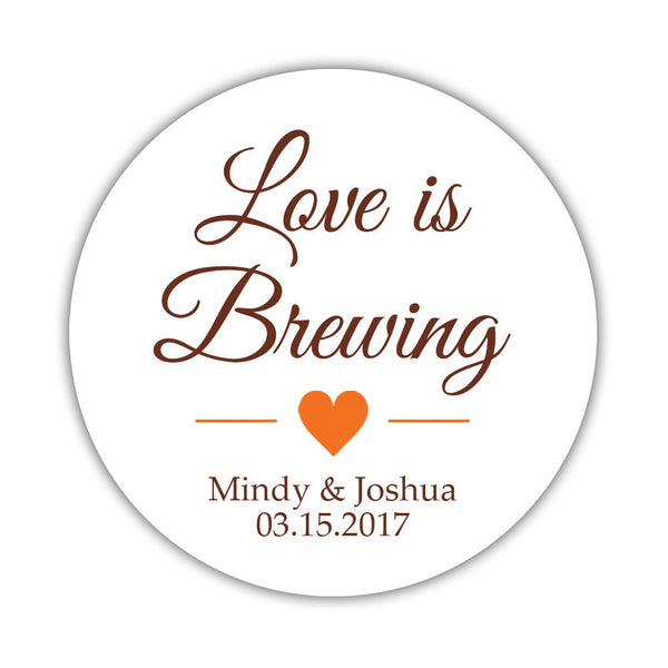 "Love is brewing stickers - 1.5"" circle = 30 labels per sheet / Chocolate/Orange - Dazzling Daisies"