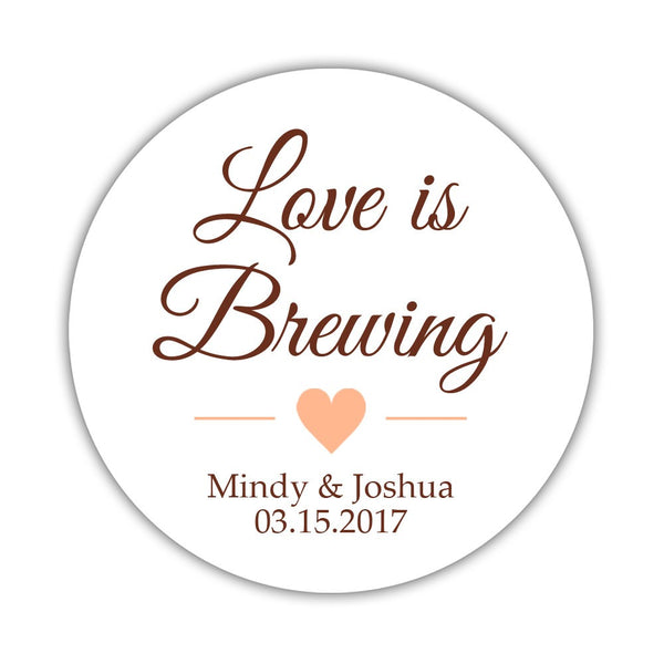 "Love is brewing stickers - 1.5"" circle = 30 labels per sheet / Chocolate/Peach - Dazzling Daisies"