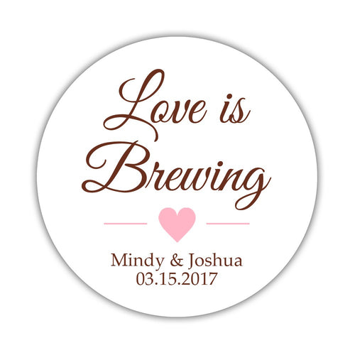 "Love is brewing stickers - 1.5"" circle = 30 labels per sheet / Chocolate/Pink - Dazzling Daisies"