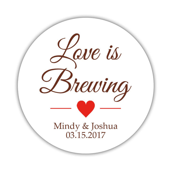 "Love is brewing stickers - 1.5"" circle = 30 labels per sheet / Chocolate/Red - Dazzling Daisies"