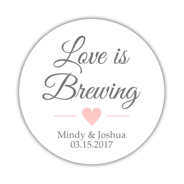 "Love is brewing stickers - 1.5"" circle = 30 labels per sheet / Gray/Blush - Dazzling Daisies"
