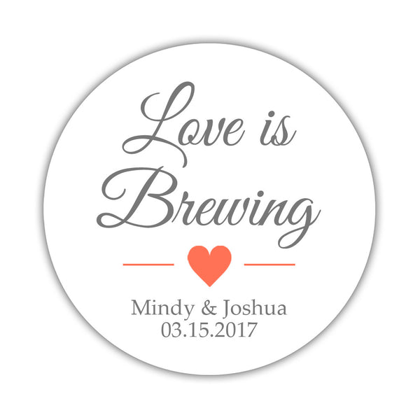 "Love is brewing stickers - 1.5"" circle = 30 labels per sheet / Gray/Coral - Dazzling Daisies"