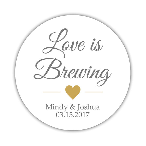 "Love is brewing stickers - 1.5"" circle = 30 labels per sheet / Gray/Gold - Dazzling Daisies"