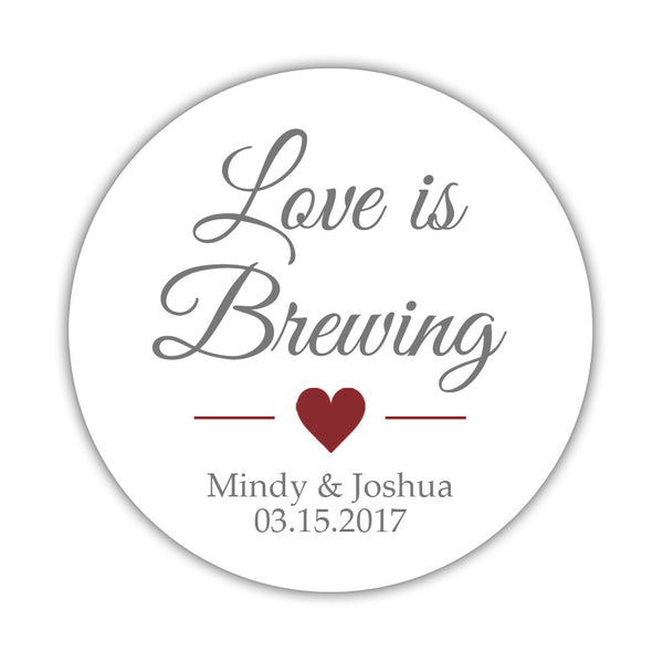 "Love is brewing stickers - 1.5"" circle = 30 labels per sheet / Gray/Maroon - Dazzling Daisies"