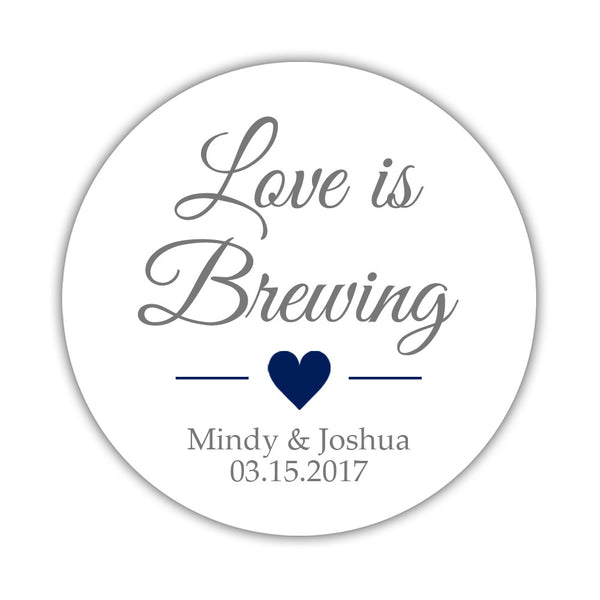 "Love is brewing stickers - 1.5"" circle = 30 labels per sheet / Gray/Navy - Dazzling Daisies"