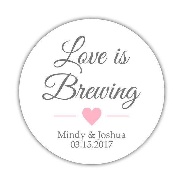 "Love is brewing stickers - 1.5"" circle = 30 labels per sheet / Gray/Pink - Dazzling Daisies"