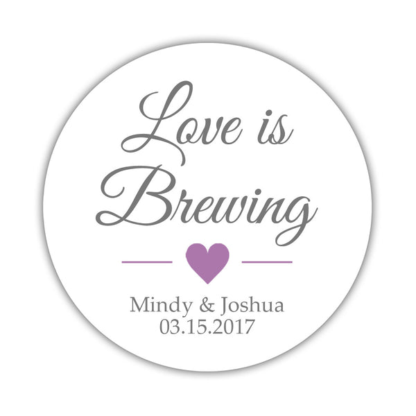 "Love is brewing stickers - 1.5"" circle = 30 labels per sheet / Gray/Plum - Dazzling Daisies"
