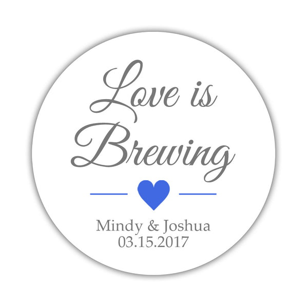 "Love is brewing stickers - 1.5"" circle = 30 labels per sheet / Gray/Royal blue - Dazzling Daisies"