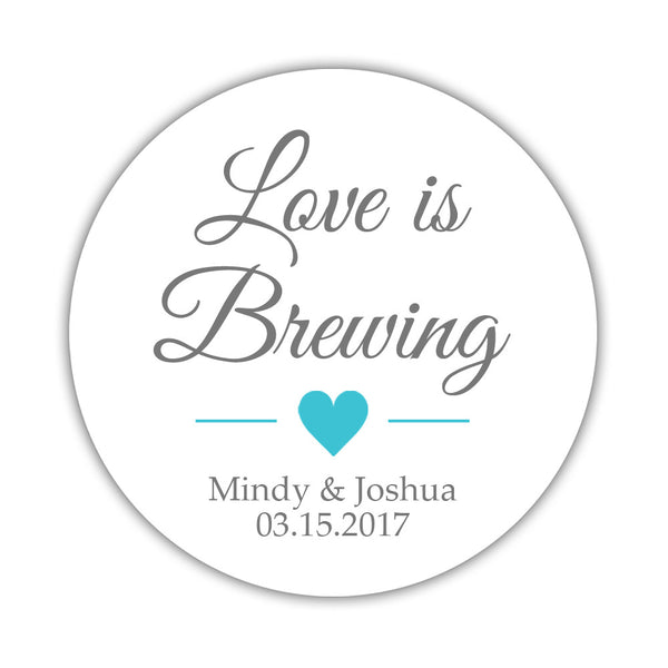 "Love is brewing stickers - 1.5"" circle = 30 labels per sheet / Gray/Turquoise - Dazzling Daisies"