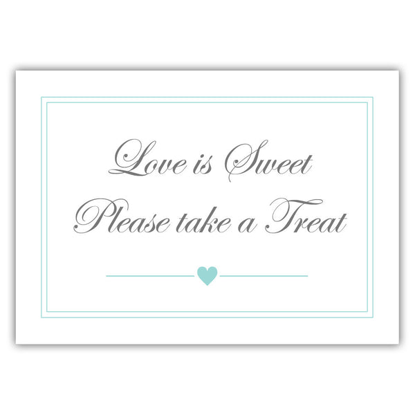 "Love is sweet sign 'Elevated Elegance' - 5x7"" / Aquamarine - Dazzling Daisies"