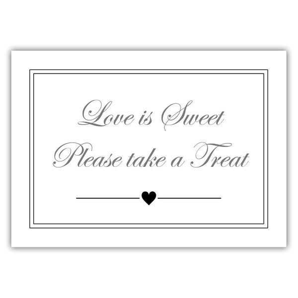 "Love is sweet sign 'Elevated Elegance' - 5x7"" / Black - Dazzling Daisies"