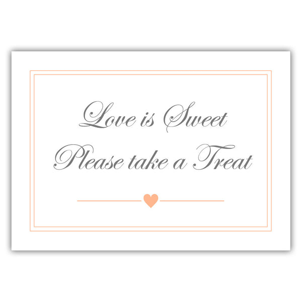 "Love is sweet sign 'Elevated Elegance' - 5x7"" / Peach - Dazzling Daisies"
