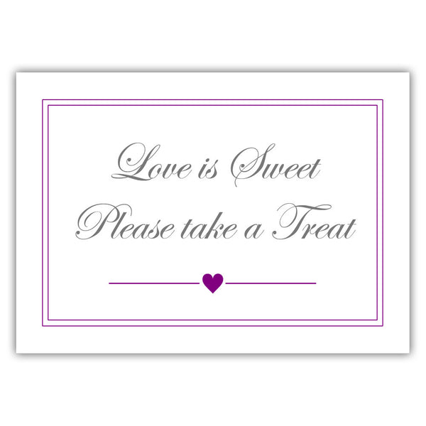 "Love is sweet sign 'Elevated Elegance' - 5x7"" / Purple - Dazzling Daisies"