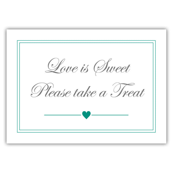 "Love is sweet sign 'Elevated Elegance' - 5x7"" / Teal - Dazzling Daisies"