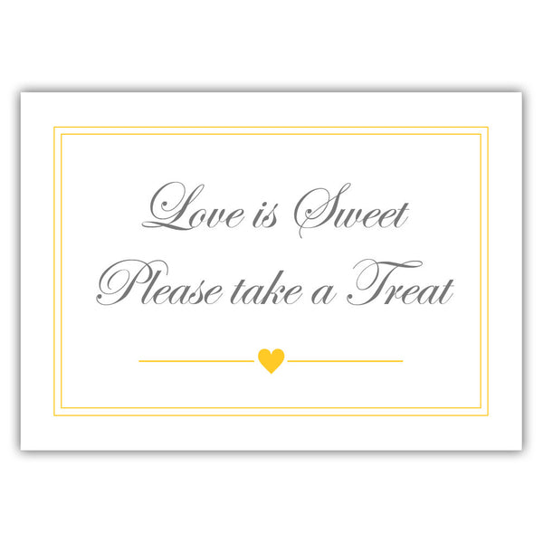 "Love is sweet sign 'Elevated Elegance' - 5x7"" / Yellow - Dazzling Daisies"
