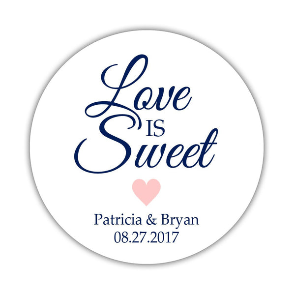 "Love is sweet stickers 'Subtle Sweetness' - 1.5"" circle = 30 labels per sheet / Blush - Dazzling Daisies"