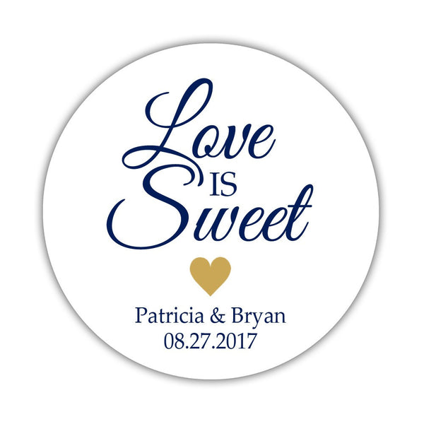 "Love is sweet stickers 'Subtle Sweetness' - 1.5"" circle = 30 labels per sheet / Gold - Dazzling Daisies"