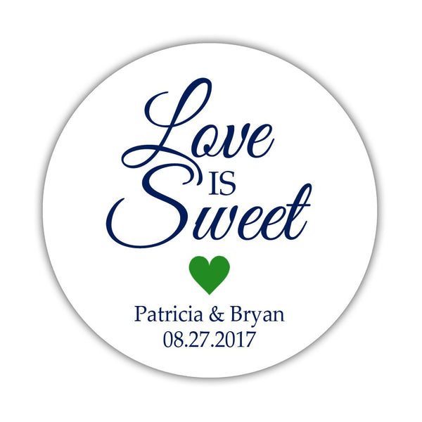 "Love is sweet stickers 'Subtle Sweetness' - 1.5"" circle = 30 labels per sheet / Green - Dazzling Daisies"