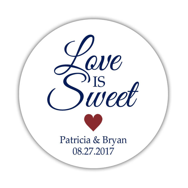 "Love is sweet stickers 'Subtle Sweetness' - 1.5"" circle = 30 labels per sheet / Maroon - Dazzling Daisies"