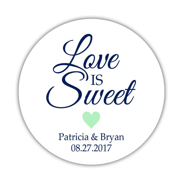 "Love is sweet stickers 'Subtle Sweetness' - 1.5"" circle = 30 labels per sheet / Mint - Dazzling Daisies"