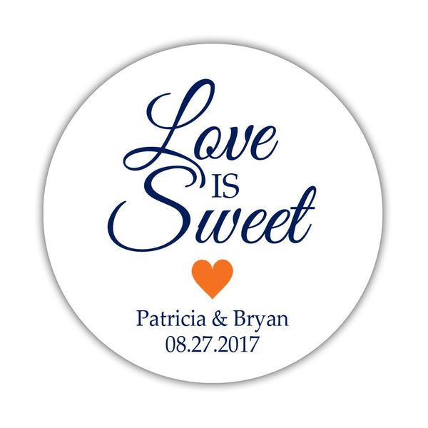 "Love is sweet stickers 'Subtle Sweetness' - 1.5"" circle = 30 labels per sheet / Orange - Dazzling Daisies"