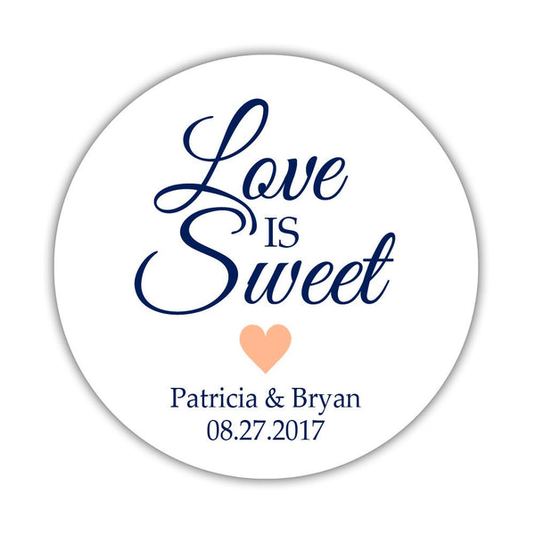 "Love is sweet stickers 'Subtle Sweetness' - 1.5"" circle = 30 labels per sheet / Peach - Dazzling Daisies"