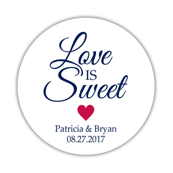 "Love is sweet stickers 'Subtle Sweetness' - 1.5"" circle = 30 labels per sheet / Raspberry - Dazzling Daisies"