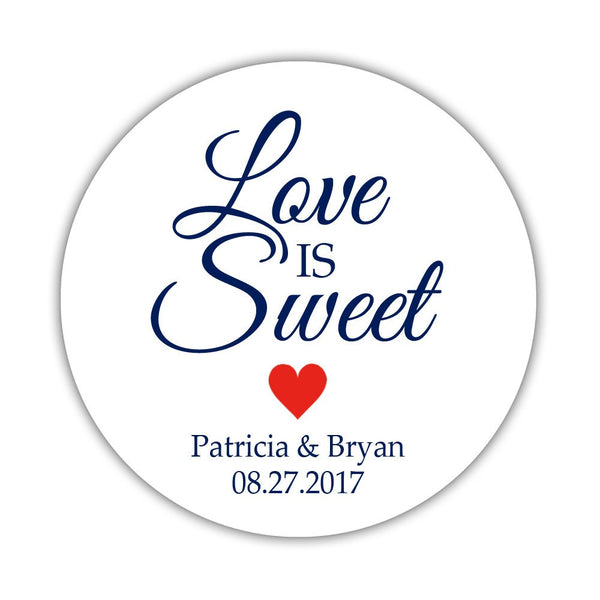 "Love is sweet stickers 'Subtle Sweetness' - 1.5"" circle = 30 labels per sheet / Red - Dazzling Daisies"