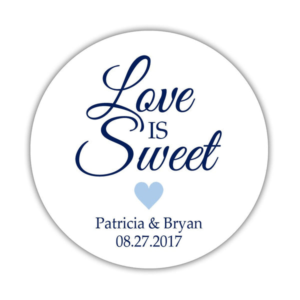 "Love is sweet stickers 'Subtle Sweetness' - 1.5"" circle = 30 labels per sheet / Steel blue - Dazzling Daisies"