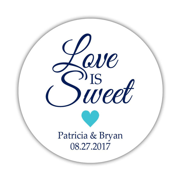 "Love is sweet stickers 'Subtle Sweetness' - 1.5"" circle = 30 labels per sheet / Turquoise - Dazzling Daisies"