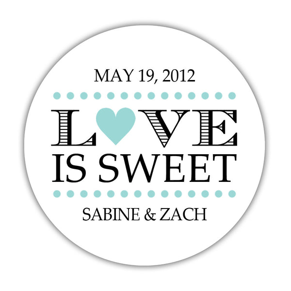 "Love is sweet stickers 'In Balance' - 1.5"" circle = 30 labels per sheet / Aquamarine - Dazzling Daisies"