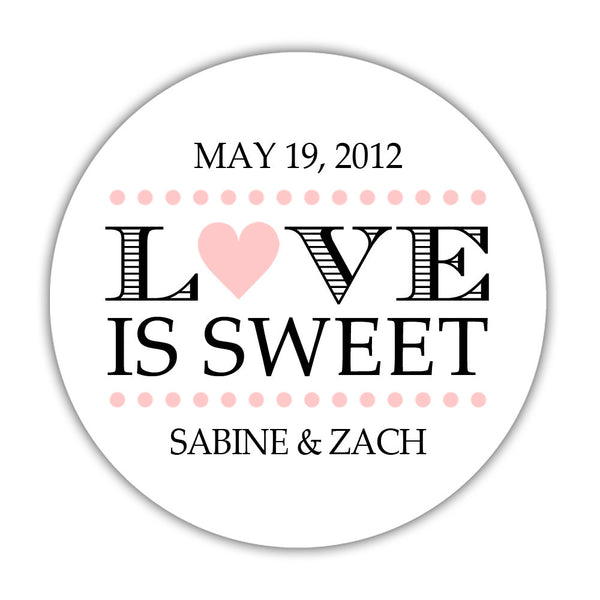 "Love is sweet stickers 'In Balance' - 1.5"" circle = 30 labels per sheet / Blush - Dazzling Daisies"