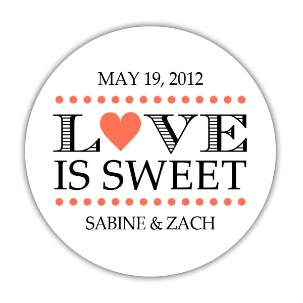 "Love is sweet stickers 'In Balance' - 1.5"" circle = 30 labels per sheet / Coral - Dazzling Daisies"