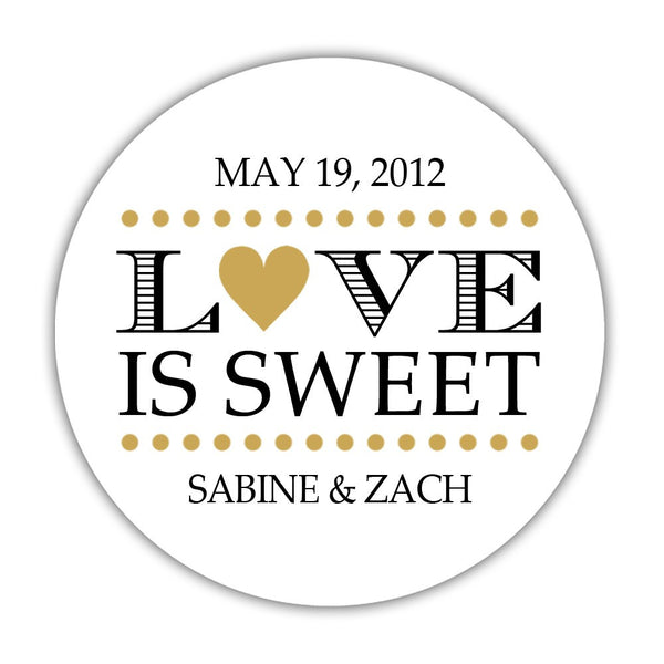 "Love is sweet stickers 'In Balance' - 1.5"" circle = 30 labels per sheet / Gold - Dazzling Daisies"