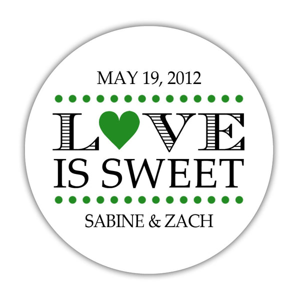 "Love is sweet stickers 'In Balance' - 1.5"" circle = 30 labels per sheet / Green - Dazzling Daisies"
