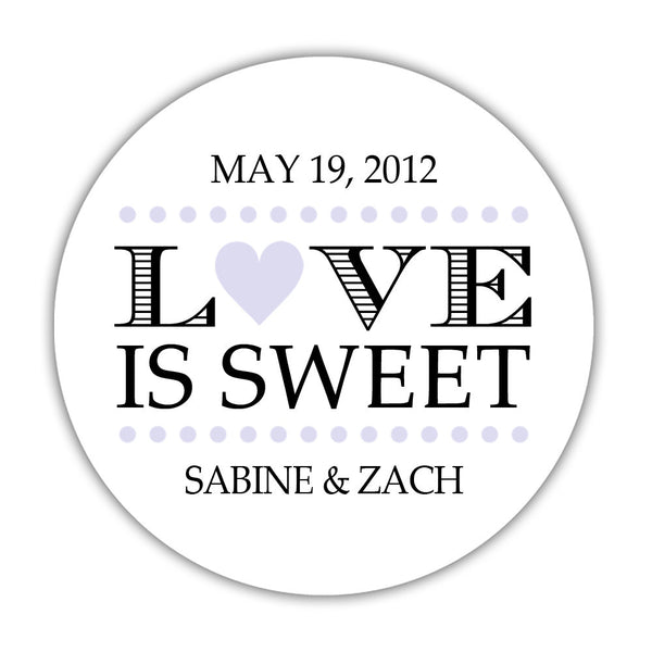 "Love is sweet stickers 'In Balance' - 1.5"" circle = 30 labels per sheet / Lavender - Dazzling Daisies"