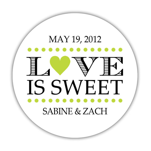 "Love is sweet stickers 'In Balance' - 1.5"" circle = 30 labels per sheet / Lime - Dazzling Daisies"