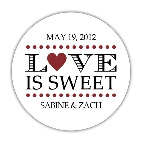 "Love is sweet stickers 'In Balance' - 1.5"" circle = 30 labels per sheet / Maroon - Dazzling Daisies"